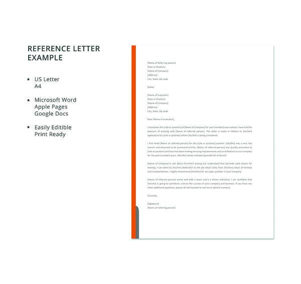 sample professional reference letter