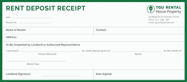free rent deposit receipt