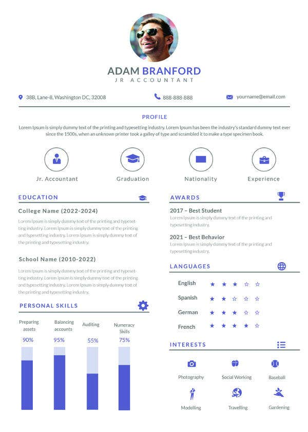 free sample junior accountant resume template