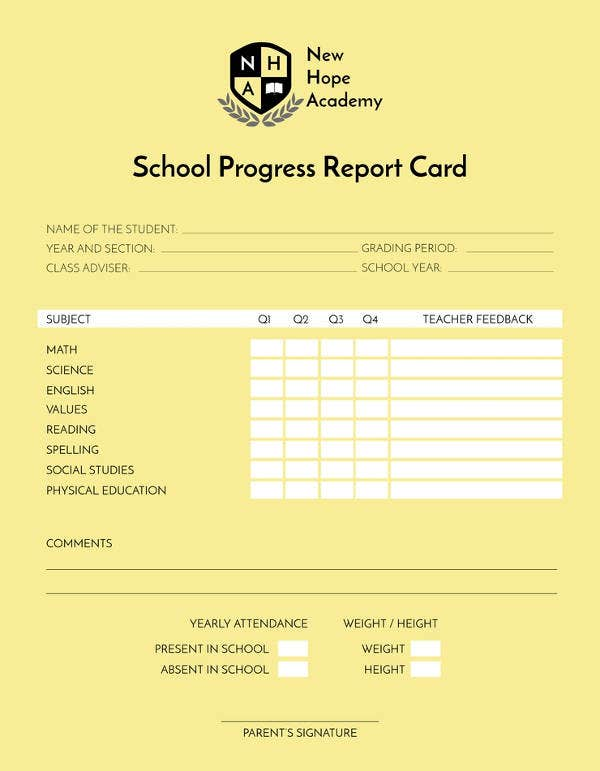 free school progress report card template2
