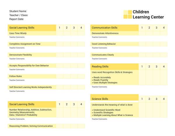 free school report card template1