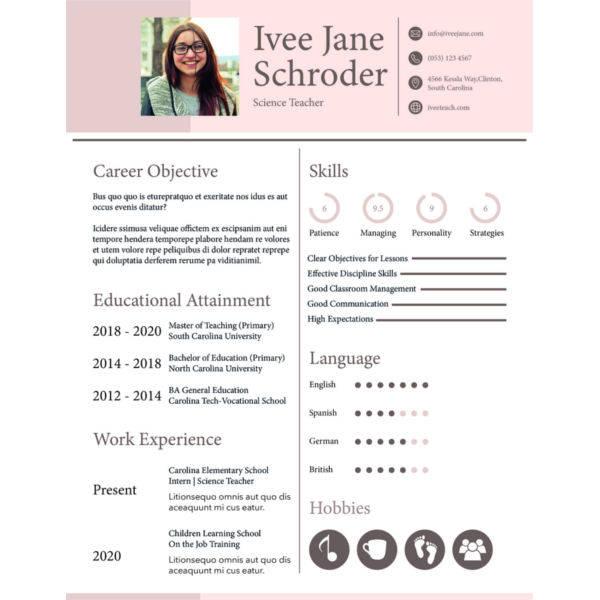 Fresher School Teacher Resume Format
