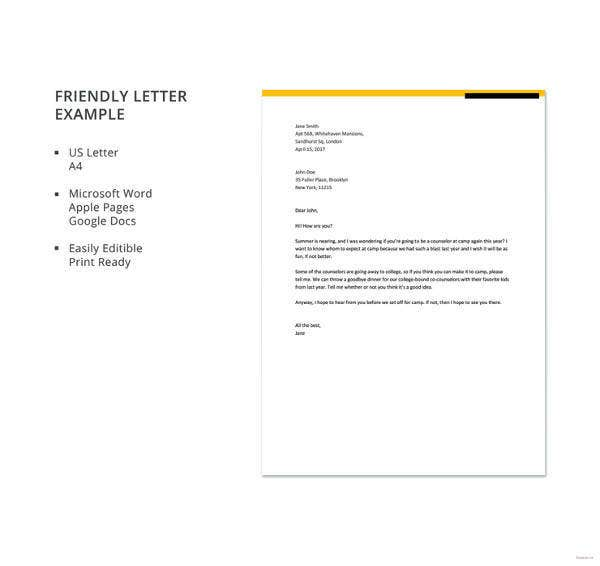 friendly letter formate 49 friendly letter templates pdf doc free amp premium 6393