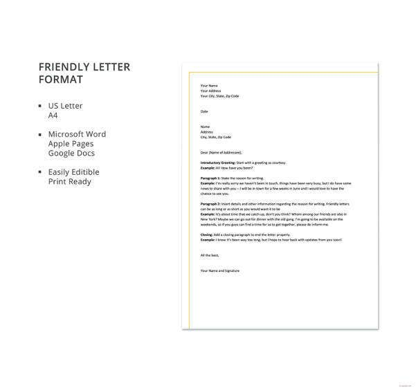49 friendly letter templates pdf doc