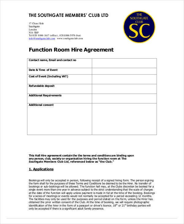 function room hire agreement