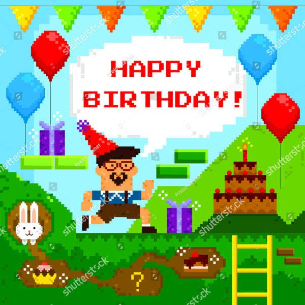 Gaming Personalized Birthday Card Template