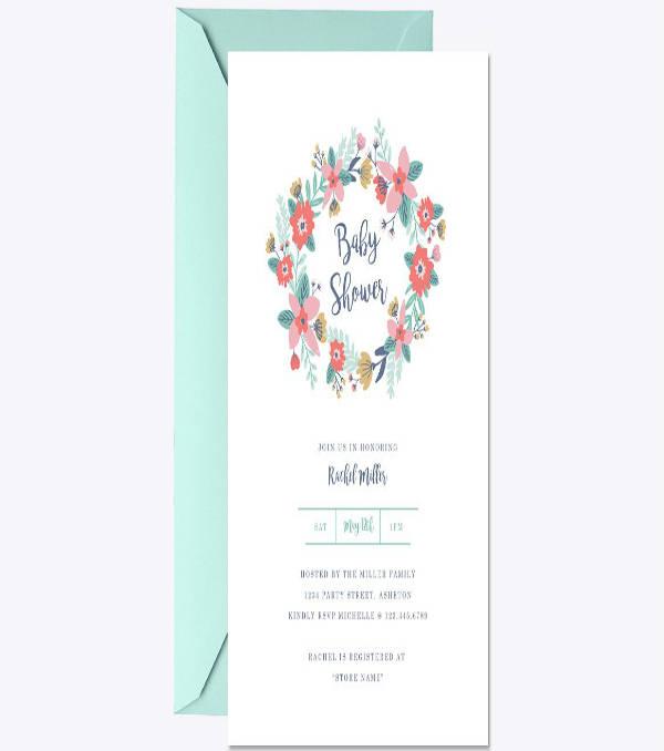 Garden Wreath Baby Shower Invitation Sample
