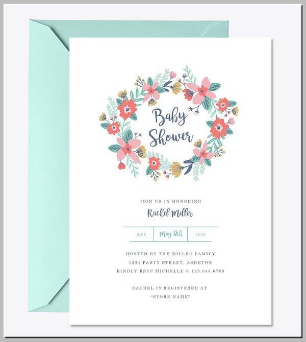 Garden Wreath Baby Shower Invitation Template