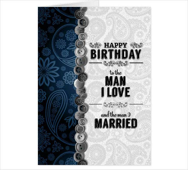 gay couple birthday card template