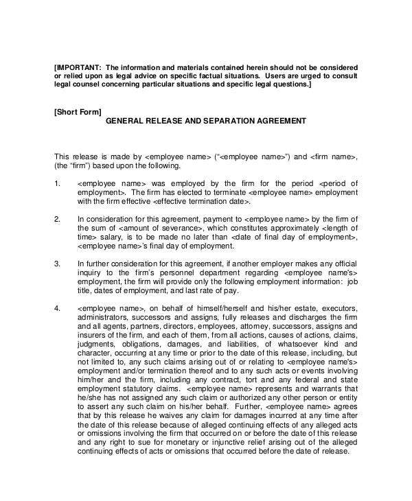11 Sample Severance Agreement Templates Pdf Doc Free Premium