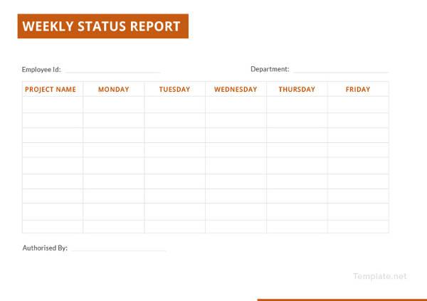 generic weekly status report template1