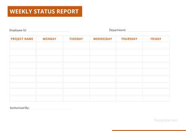 generic weekly status report template2