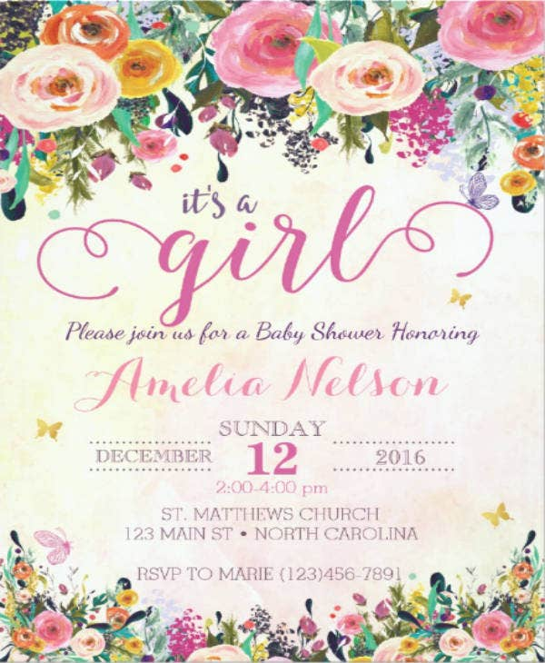 girl floral baby shower invitation example