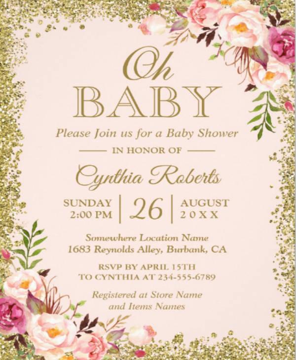 glitter floral baby shower invitation card
