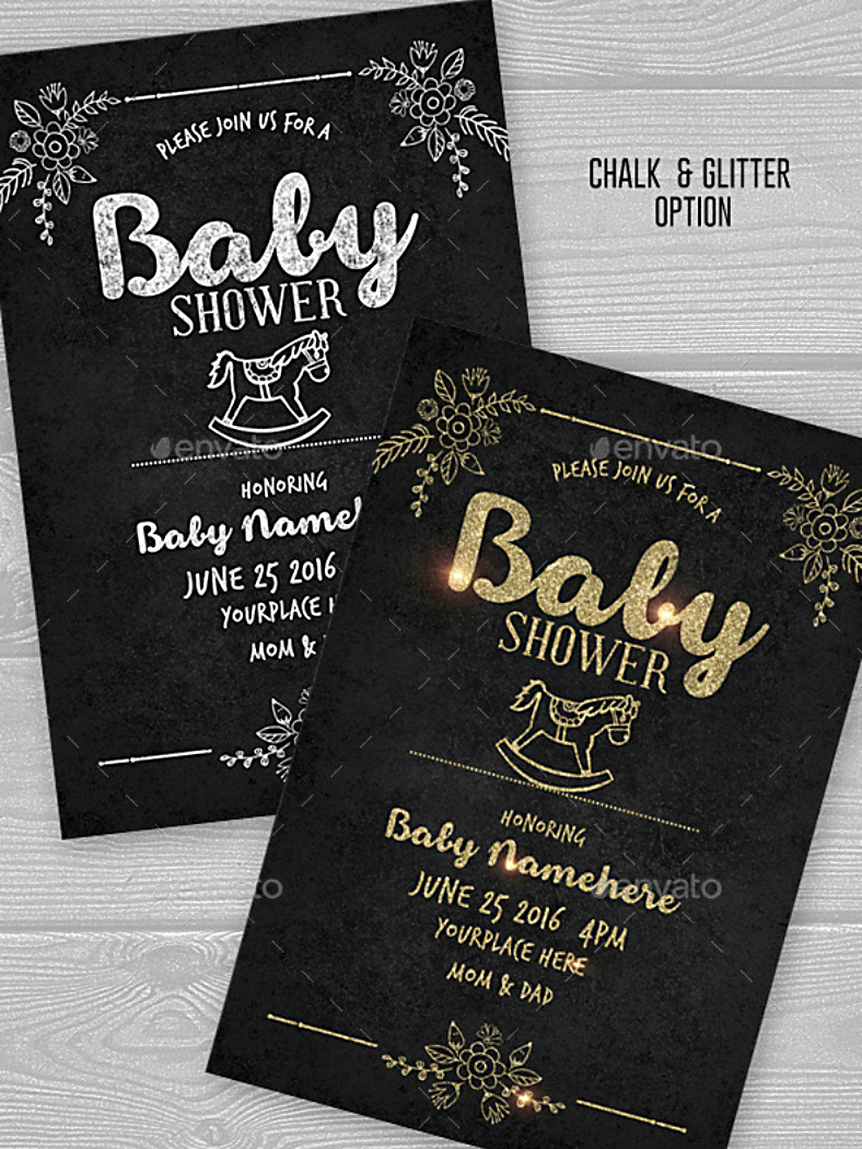 Glittery Chalk Baby Shower Invitation Template