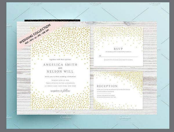 Gold Confetti Wedding Invitation Template