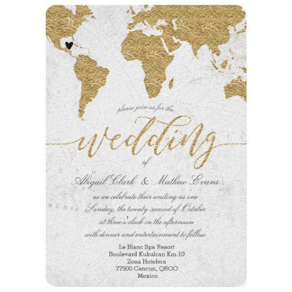 Gold Foil Destination Wedding Invitation