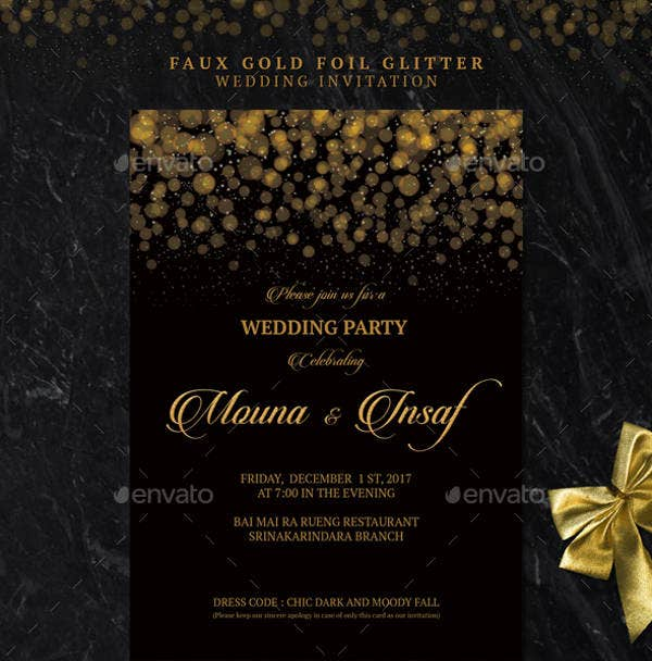 Gold Foil Glitter Wedding Invitation