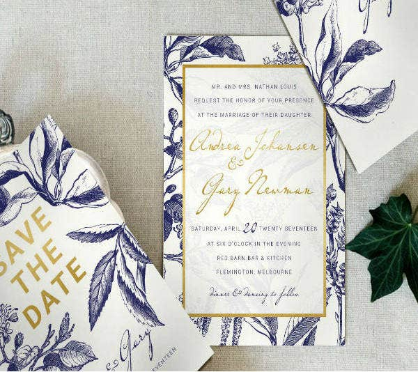 gold navy wedding invitation template set1