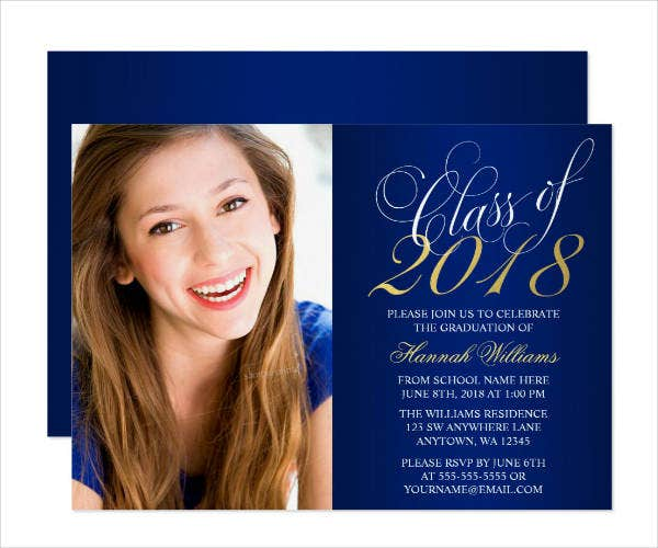 gold photo graduation announcement invitation