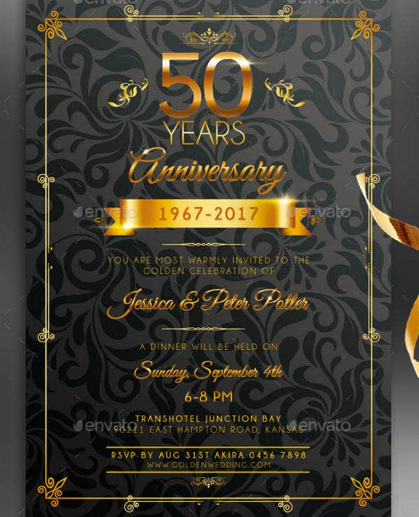Golden Wedding Anniversary Invitation Card