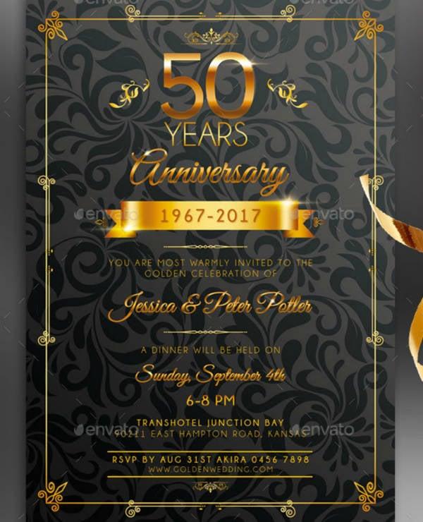 golden wedding anniversary invitation card