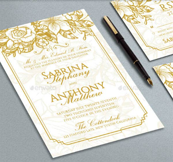 Golden Wedding Invitation Sample