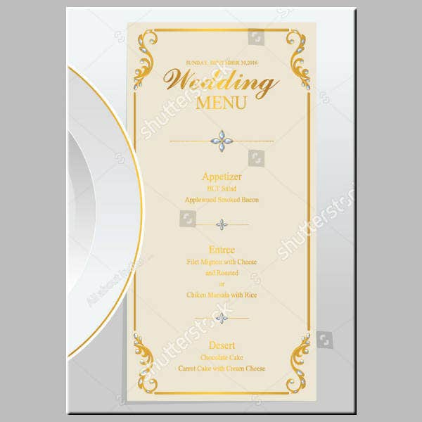 Golden Wedding Menu Template