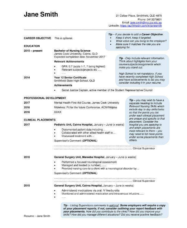 Graduate Nursing CV Sample