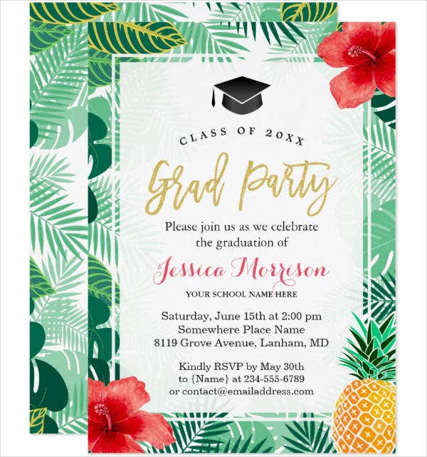 Graduation Luau Party Invitation Template