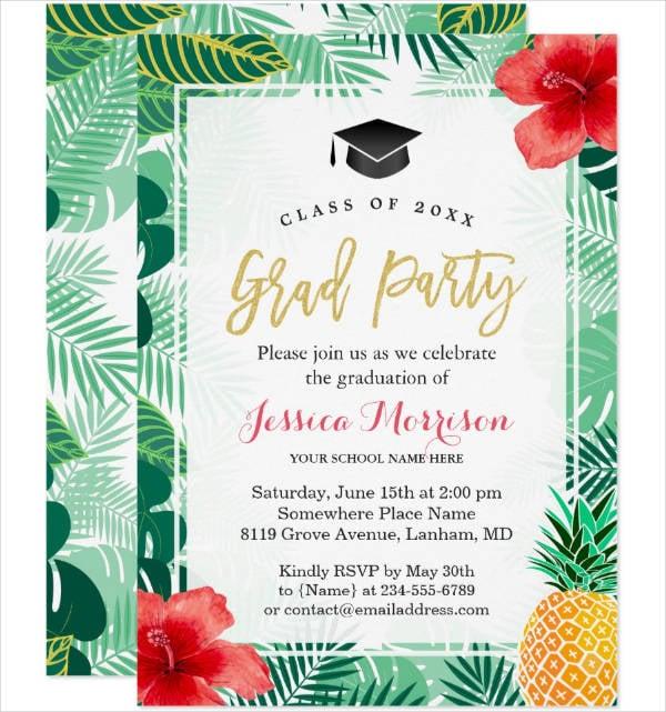 graduation luau party invitation template