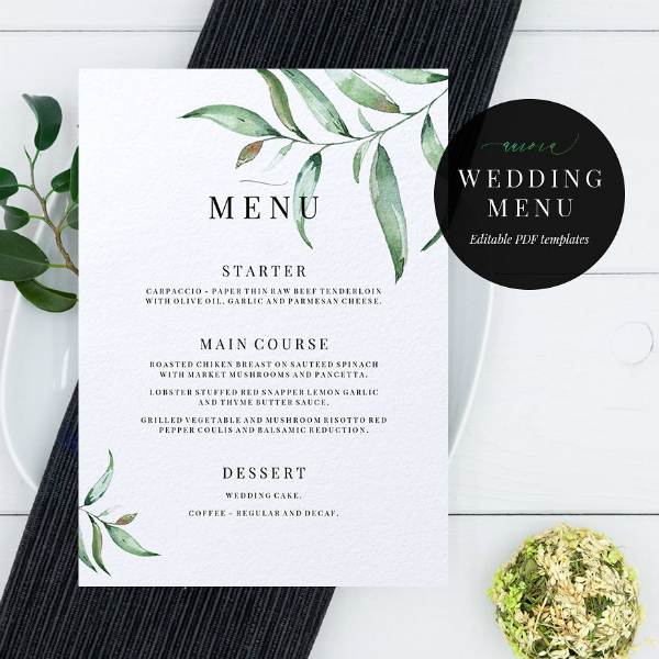 Green Leaves Wedding Menu Template
