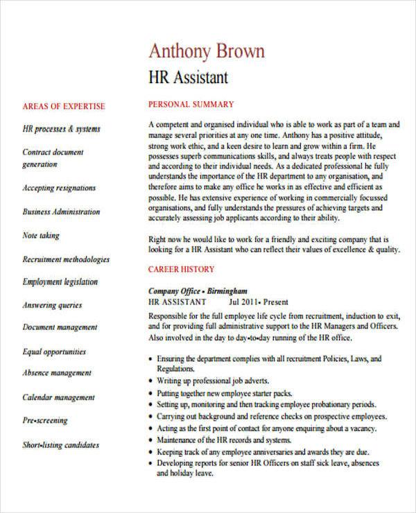 hr assistant cv