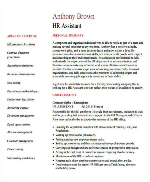 HR Assistant Curriculum Vitae