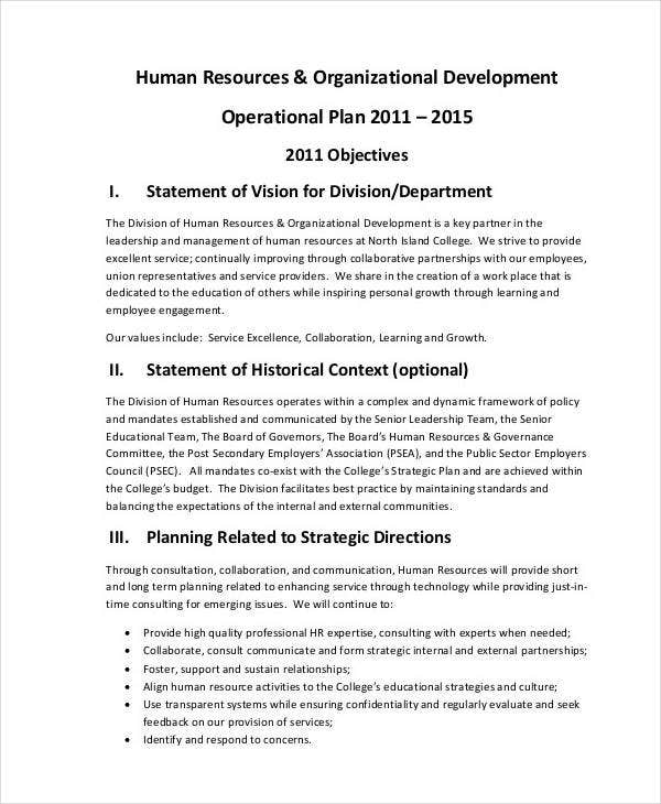 HR Development Operational Plan