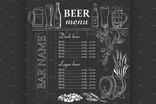 Hand Drawn Beer Menu Sample
