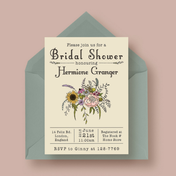 Hand Drawn Bridal Shower Card Template