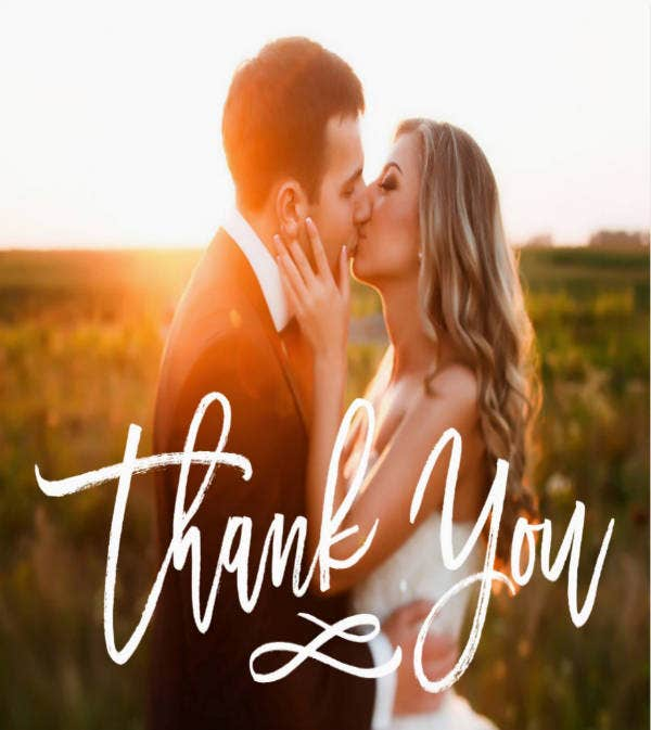Hand Lettered Wedding Thank You Postcard