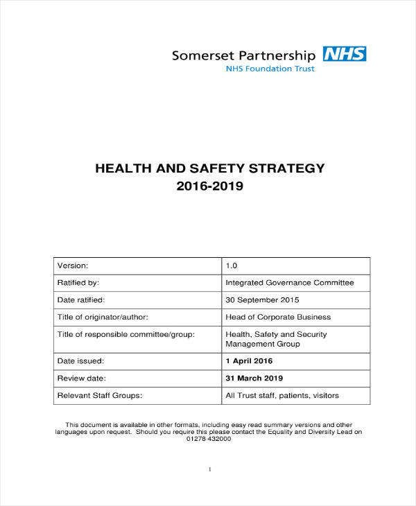 Health & Safety Strategy Plan Sample