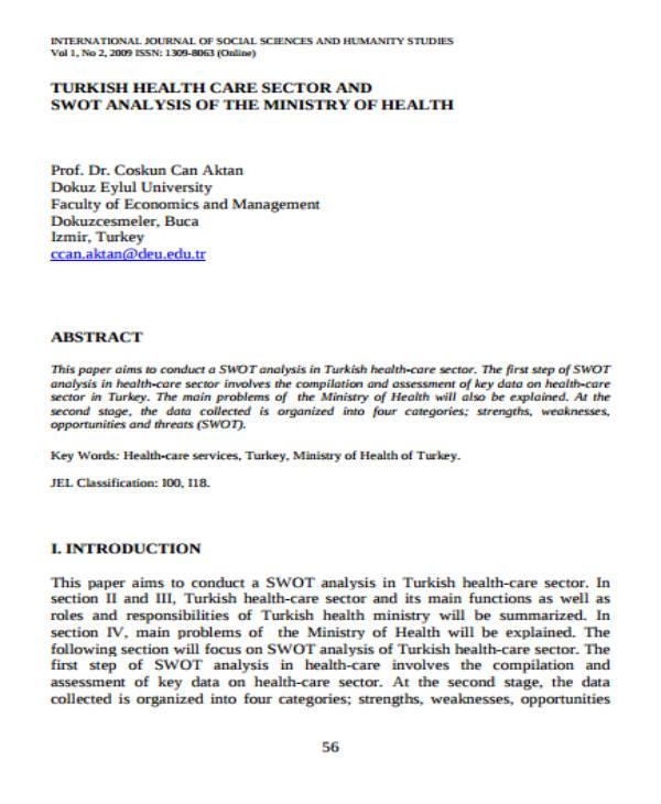 Healthcare SWOT Analysis Sample