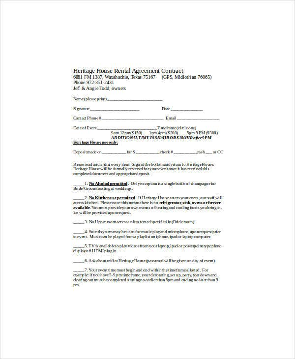 heritage house rental agreement contract
