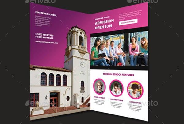high school bi fold brochure design