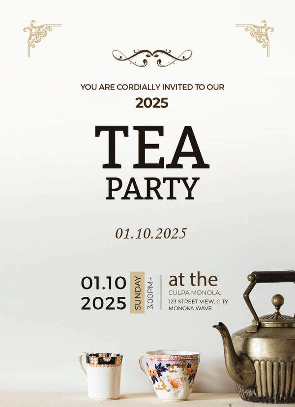 41 tea party invitation templates psd ai free premium templates