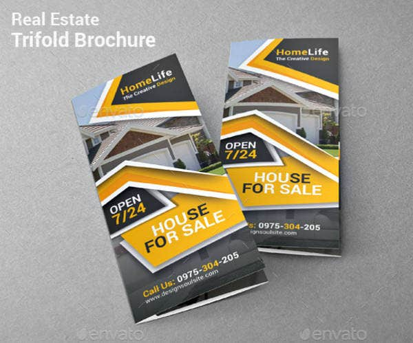 home real estate trifold brochure