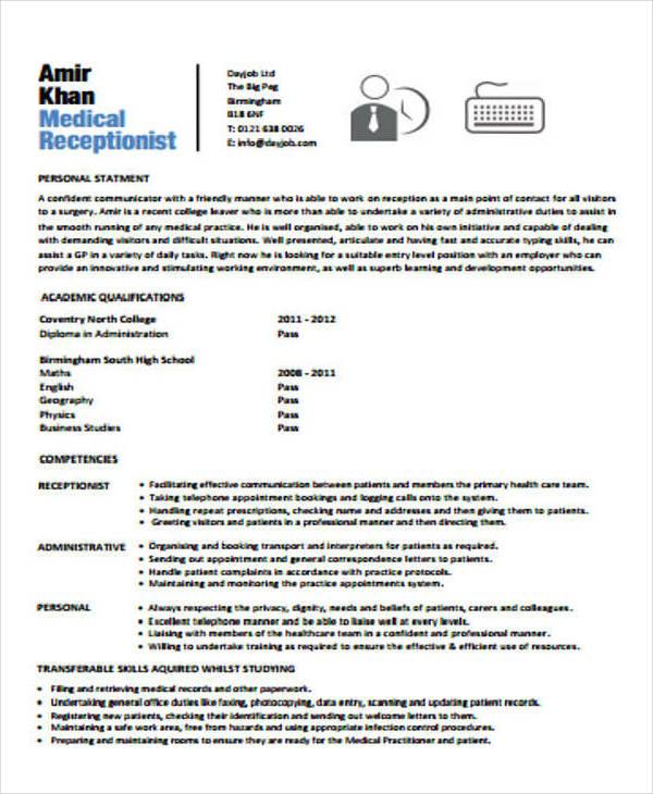 Hospital Receptionist CV Template