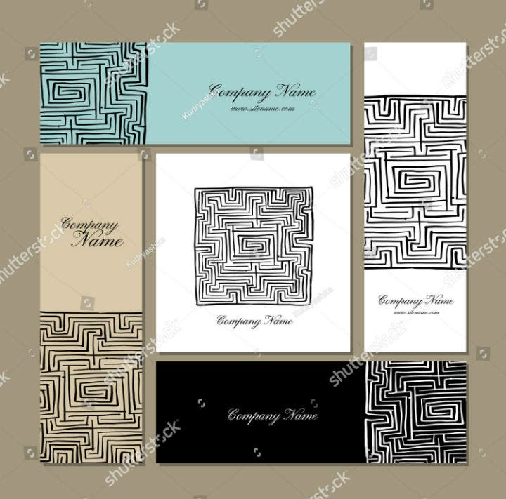 illustrated maze business cards design template