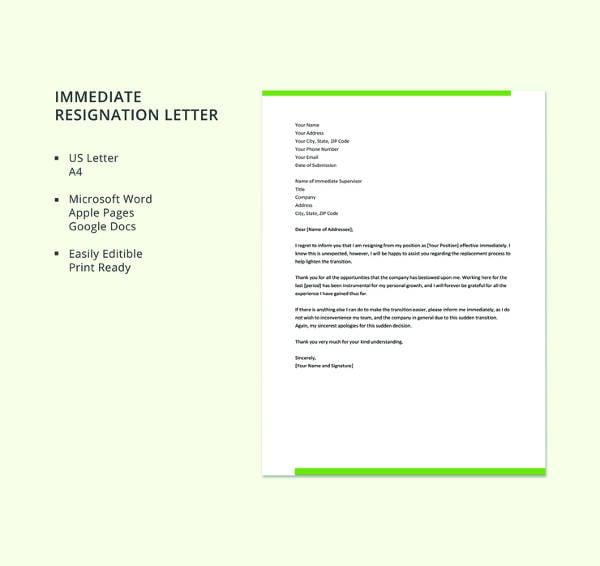 immediate resignation letter