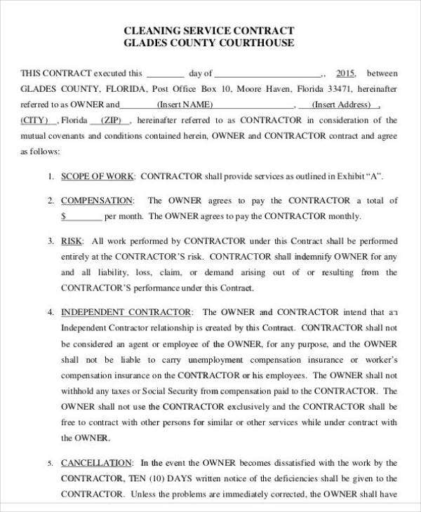 12 Printable Cleaning Service Contract Templates PDF DOC Free