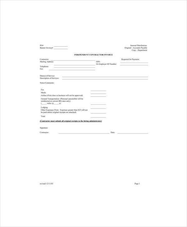 Independent Contract Service Invoice Form