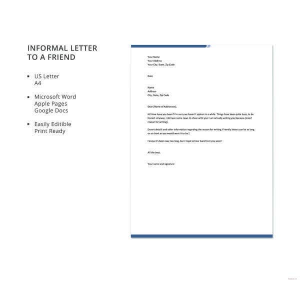 Informal-Letter-to-a-Friend Sample Informal Letter Template on business proposal,